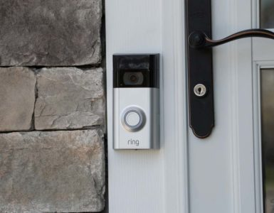 A ring video doorbell installed on someone's home