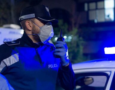 police officer wearing protective mask